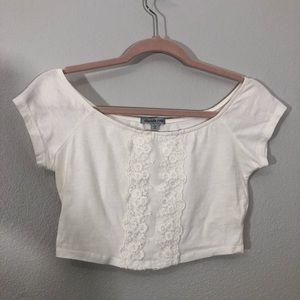 Embroidered Floral White Crop Top